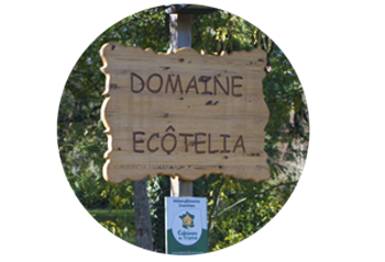 entry sign in Domaine EcÔtelia glamping site
